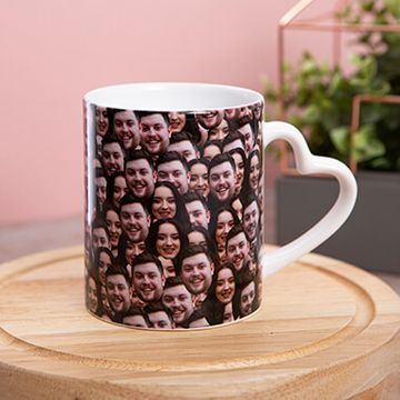 Personalised Multi Face Heart Handle Mug
