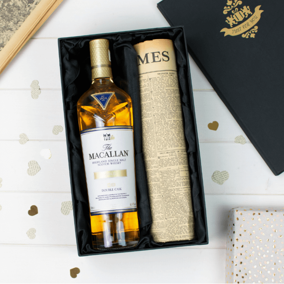 Macallan Double Cask Gold Whisky and Original Newspaper