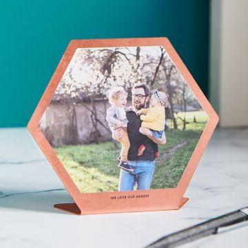 Personalised Metal Hexagon Photo Print