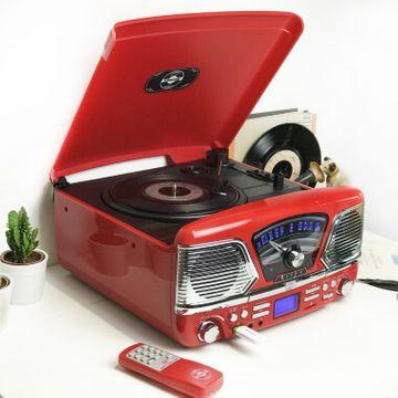 Steepletone 1960's Roxy 4 BT Retro Music System - Red