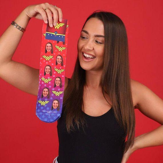 Personalised Wonder Woman Face Socks