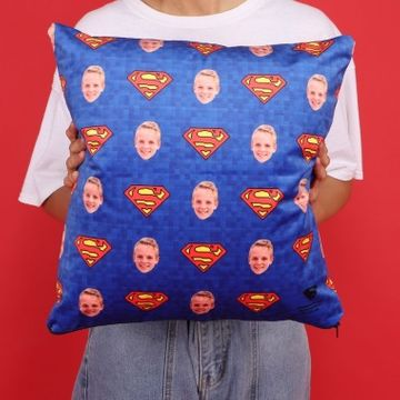 Personalised Superman Face Photo Cushion