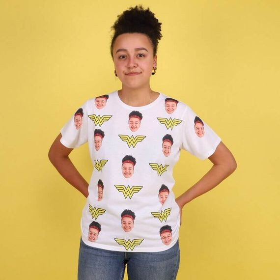 Personalised Wonder Woman Face T-Shirt