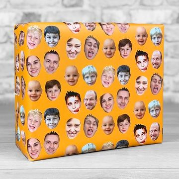 Personalised Faces Gift Wrap - Orange
