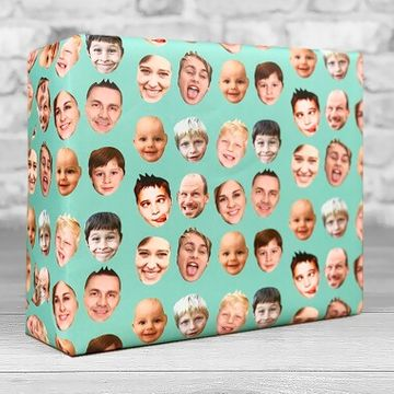 Personalised Faces Gift Wrap - Teal