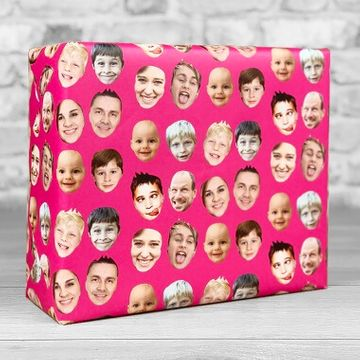Personalised Faces Gift Wrap - Pink