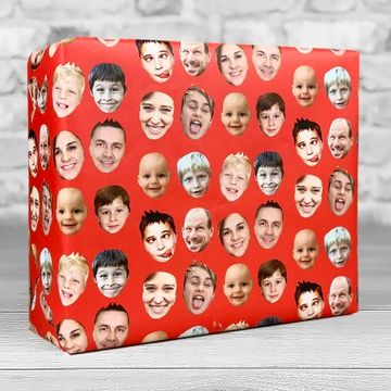 Personalised Faces Gift Wrap - Red