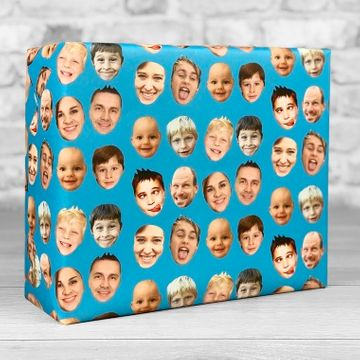 Personalised Faces Gift Wrap - Blue