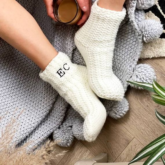 Personalised Monogrammed Slipper Socks