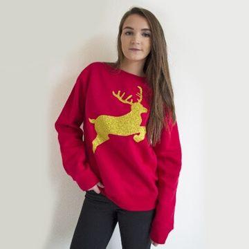 Glitter Reindeer Christmas Sweatshirt
