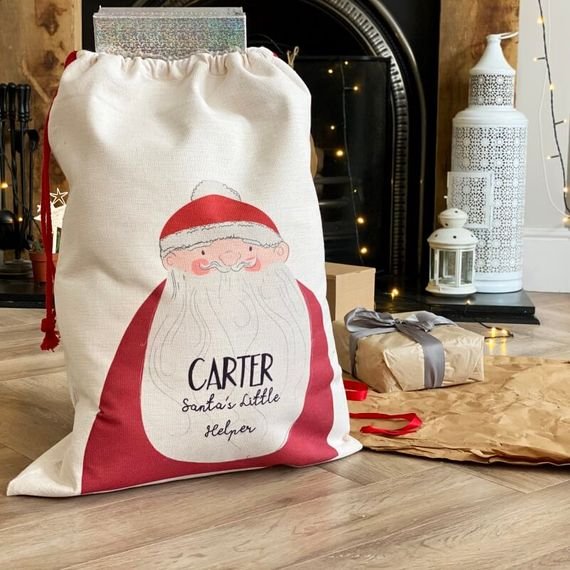 Personalised Santa's Little Helper Present Sack