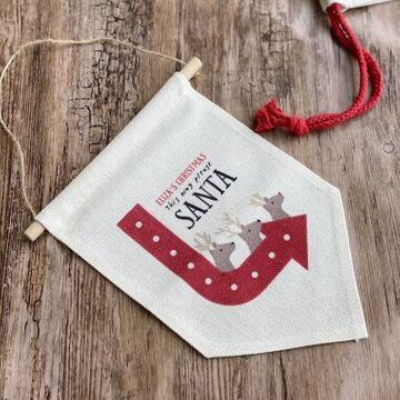 Personalised This Way Santa Christmas Banner