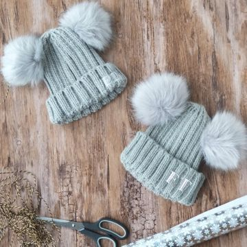 Personalised Matching Pom Pom Hats