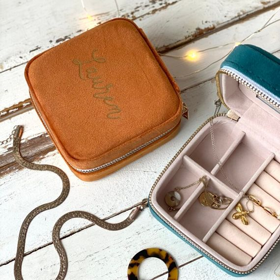 Personalised Velvet Travel Jewellery Case