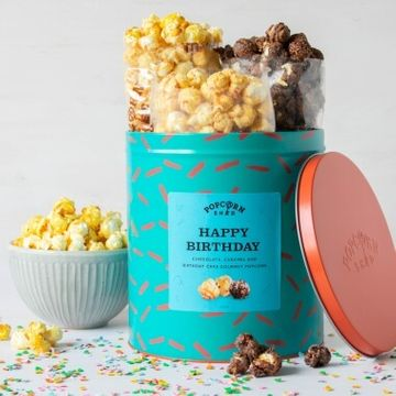 Happy Birthday Popcorn Gift Tin