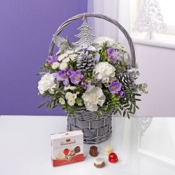 Winter Bouquet Gift Basket & Chocolates