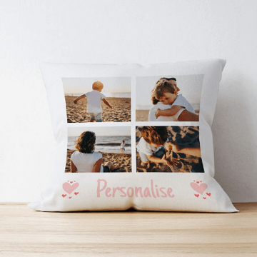 Personalised 4 Photo Cushion With Message