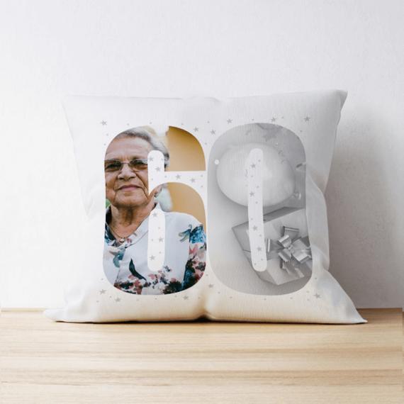 Personalised 60 Photo Cushion - Multi Image