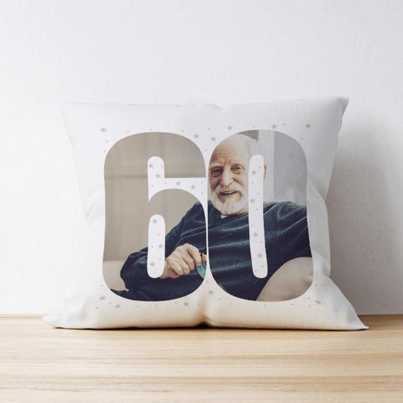 Personalised 60 Photo Cushion - Single Image