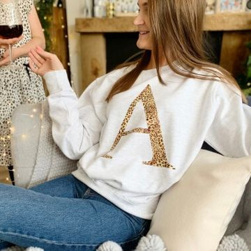 Personalised Leopard Print Large Initial Jumper