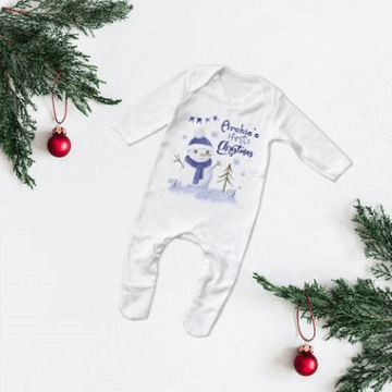 Personalised First Christmas Snowman Babygrow