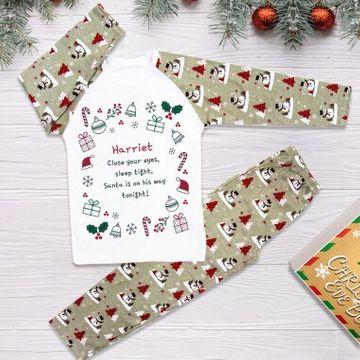 Personalised Santa's on His Way Tonight Christmas Pyjamas