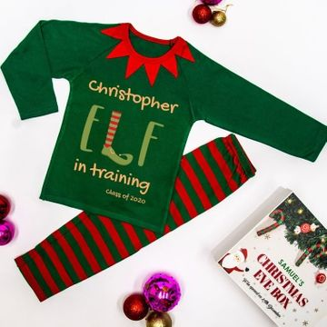 Personalised Elf In Training Christmas Pyjamas