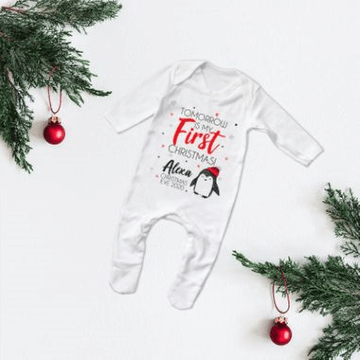 Personalised Christmas Eve Penguin Babygrow
