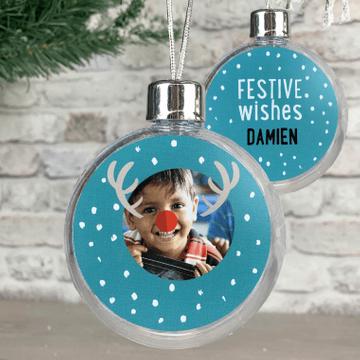 Personalised Photo Christmas Reindeer Bauble - Blue