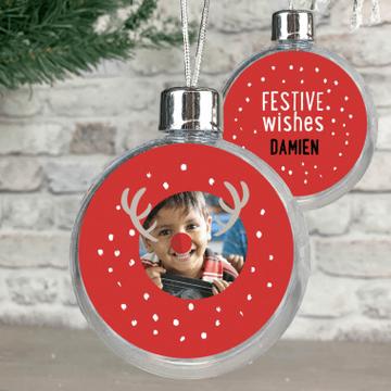 Personalised Photo Christmas Reindeer Bauble - Red