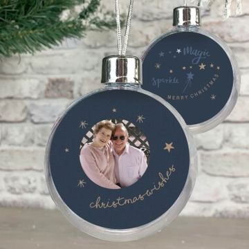 Personalised Photo Christmas Wishes Bauble