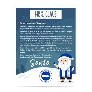 Personalised Brighton & Hove Albion FC Letter from Santa