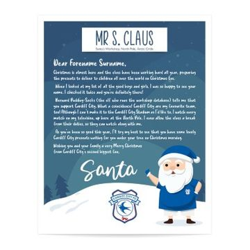 Personalised Cardiff City FC Letter from Santa