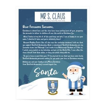 Personalised Sheffield Wednesday FC Letter from Santa