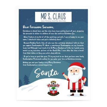 Personalised Southampton FC Letter from Santa