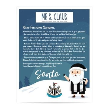 Personalised Newcastle United FC Letter from Santa
