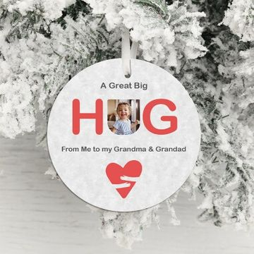 Personalised Big Hug Photo Hanging Decoration