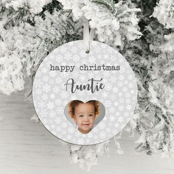 Personalised Happy Christmas Photo Hanging Decoration