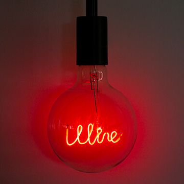 LED Filament Text Bulb -Wine