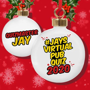 Personalised Jay's Virtual Pub Quiz Christmas Bauble