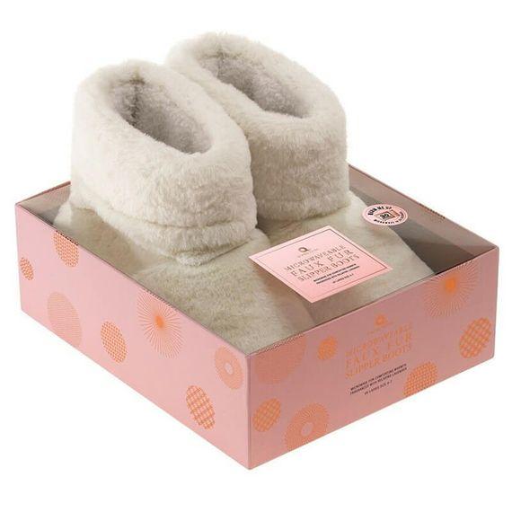 Microwavable Faux Fur Slipper Boots - Cream