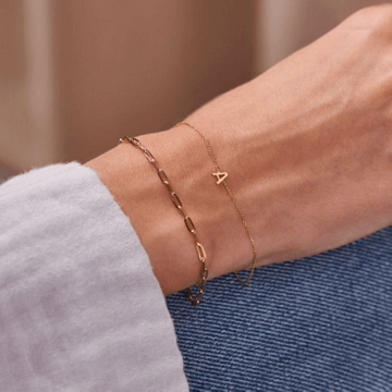 Personalised 9ct Gold Petite Initial Bracelet
