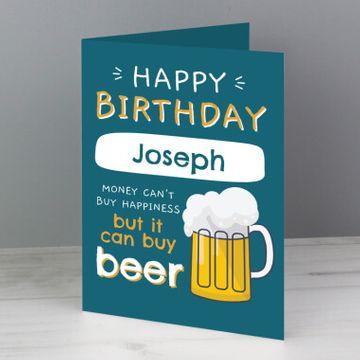 Personalised Happy Birthday Beer Card