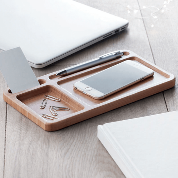 Personalised Bamboo Desk Tidy and Wireless Charger
