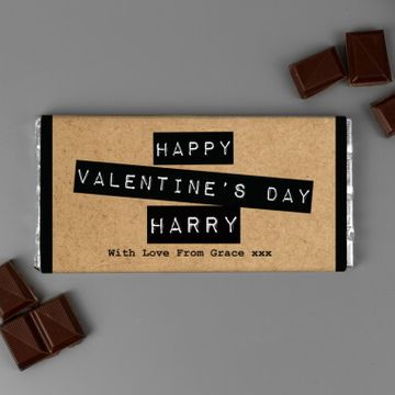 Personalised Paper Craft Valentine's Chocolate Bar