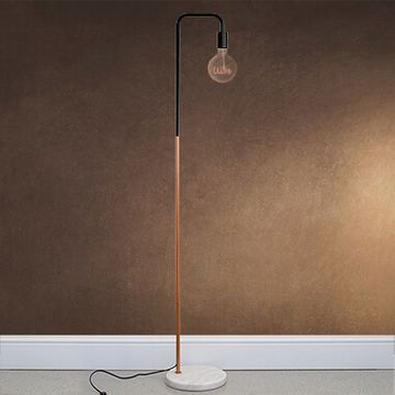 Marble Stone Base Floor Lamp WIth LED Filament Text Bulb