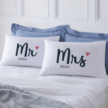 Personalised Mr and Mrs Pillowcases