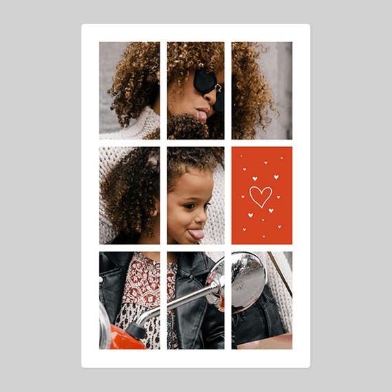 Personalised Love Heart Tiled Photo Blanket