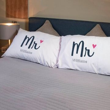 Personalised Mr and Mr Pillowcases
