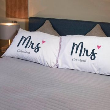 Personalised Mrs and Mrs Pillowcases